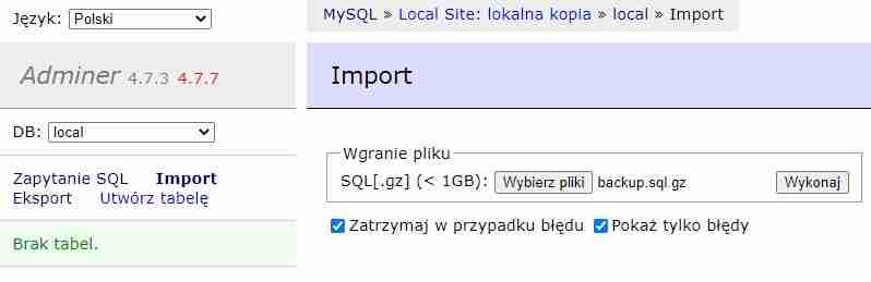 Adminer: wybór pliku do importu bazy